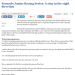 Formula Junior Racing Series: A step in the right direction - The Hindu (21-04-16)
